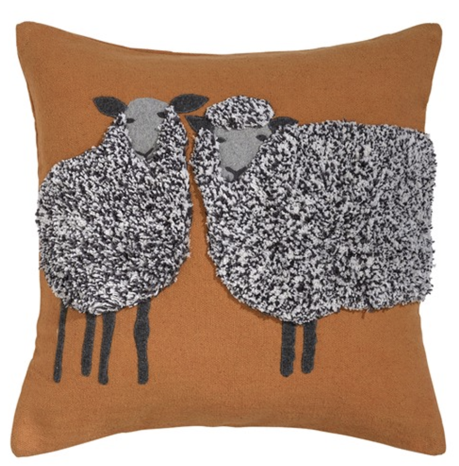 orange autumn wool sheep cushion