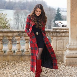 jade holland cooper wearing long red tartan tweed trench coat