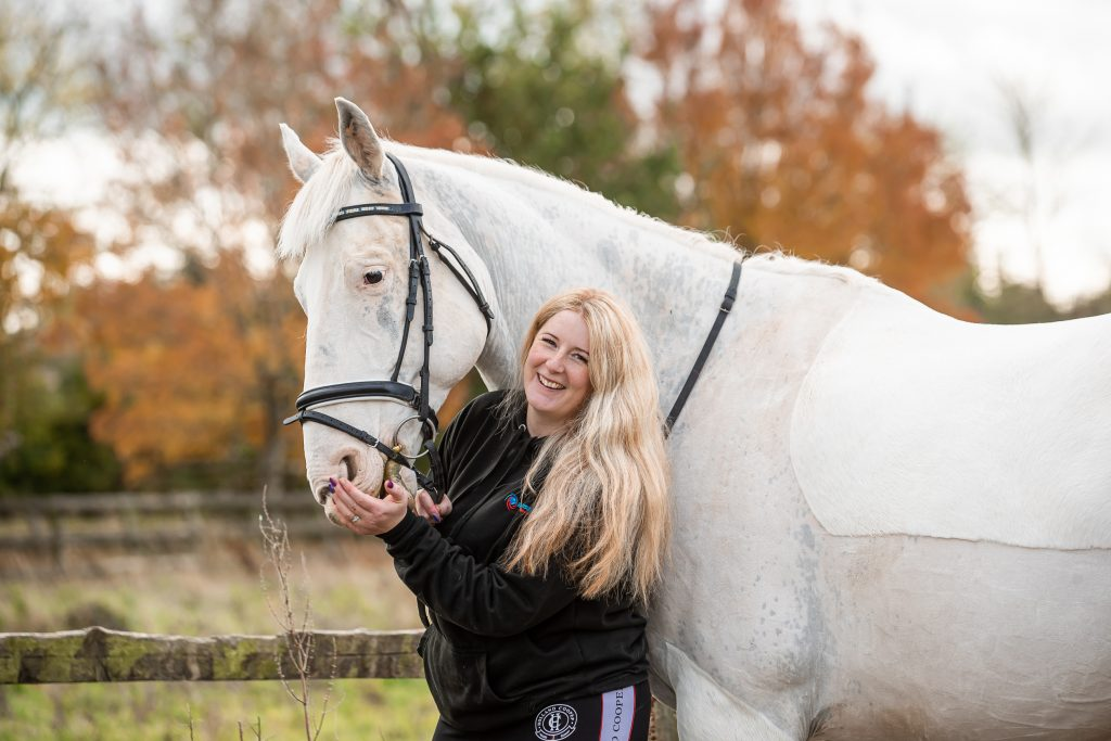 Danielle Holmes, Black Nova Designs beautiful white horse and blonde