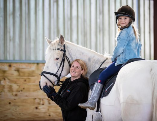 Danielle holmes, black nova designs mum in business horse with daughter